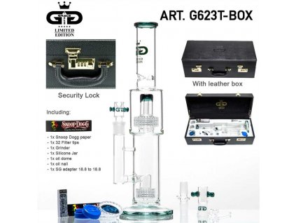GG Limited Edition Drum Bong - Green- H:41cm - Ø:75/60mm - SG:18.8mm - luxury leather box