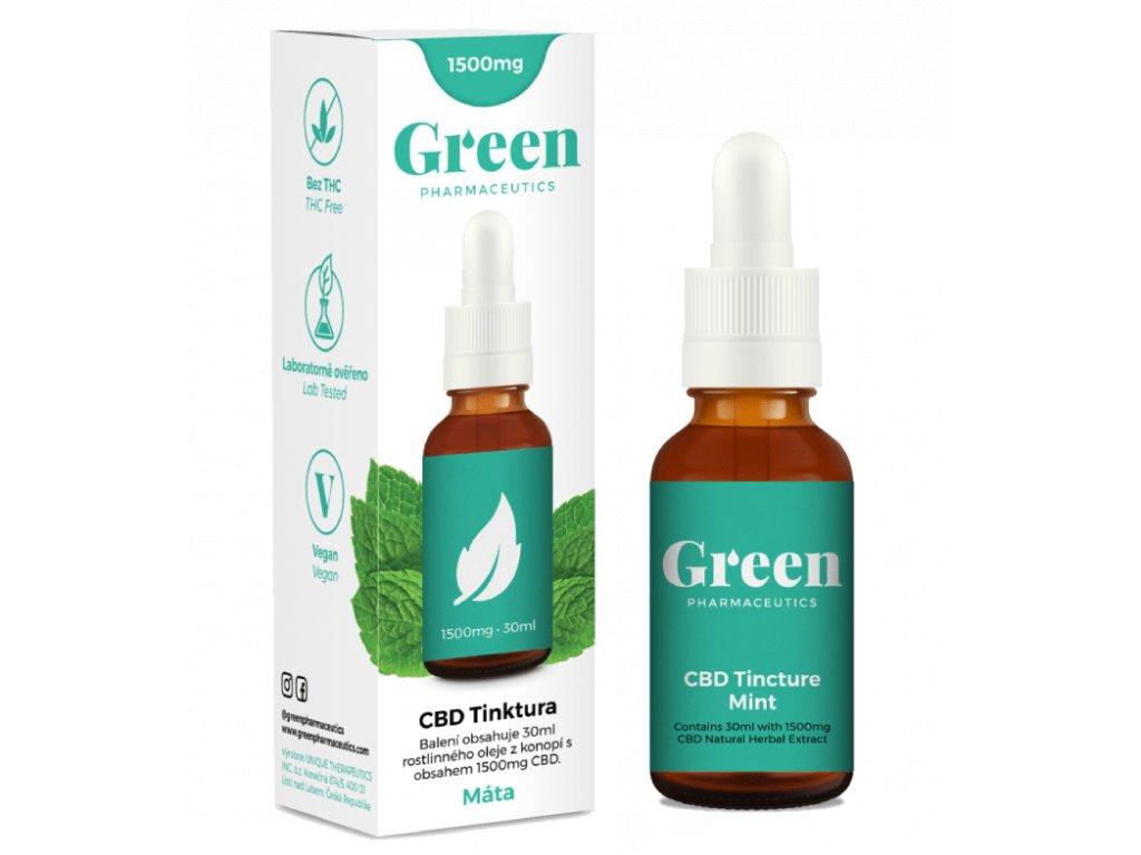 CBD konopný olej 5% Green Pharmaceutics jako 30 ml tinktura s přichutí máty a 1500 mg CBD