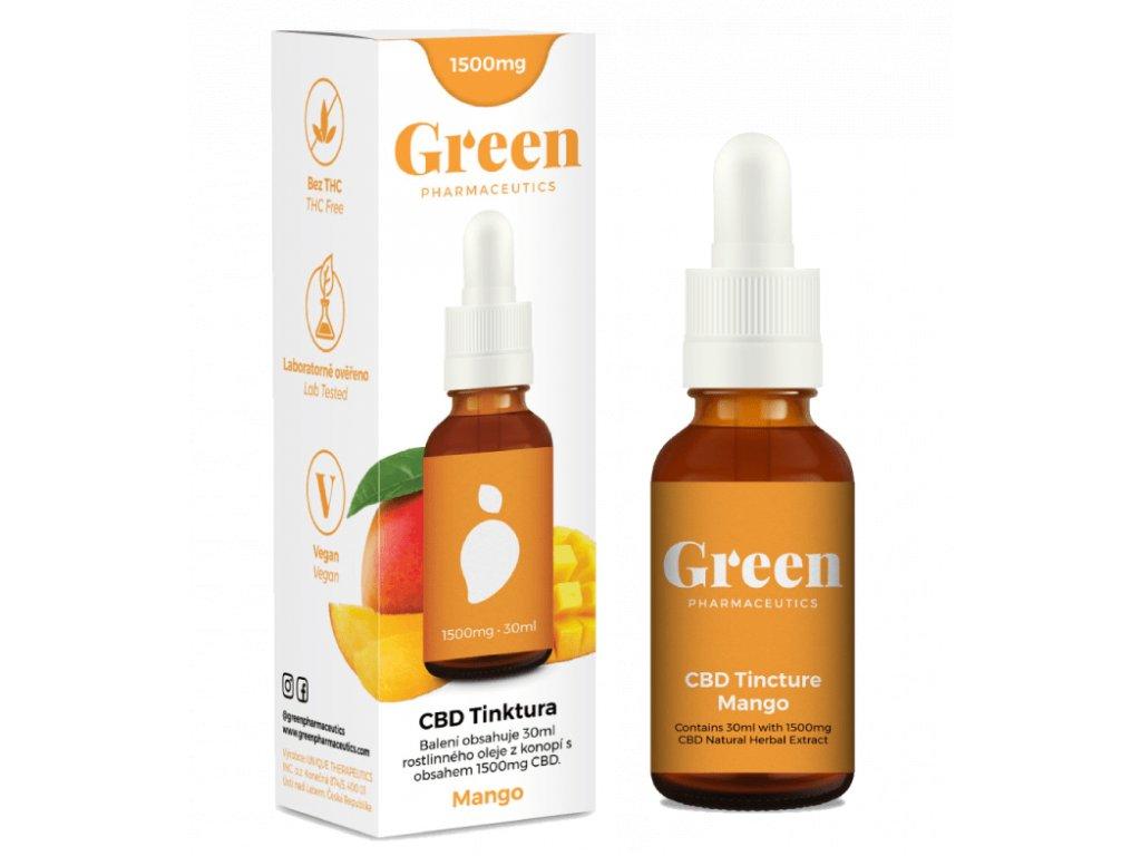 Konopný CBD olej 5% Green Pharmaceutics jako 30 ml tinktura s 1500 mg CBD a příchutí manga