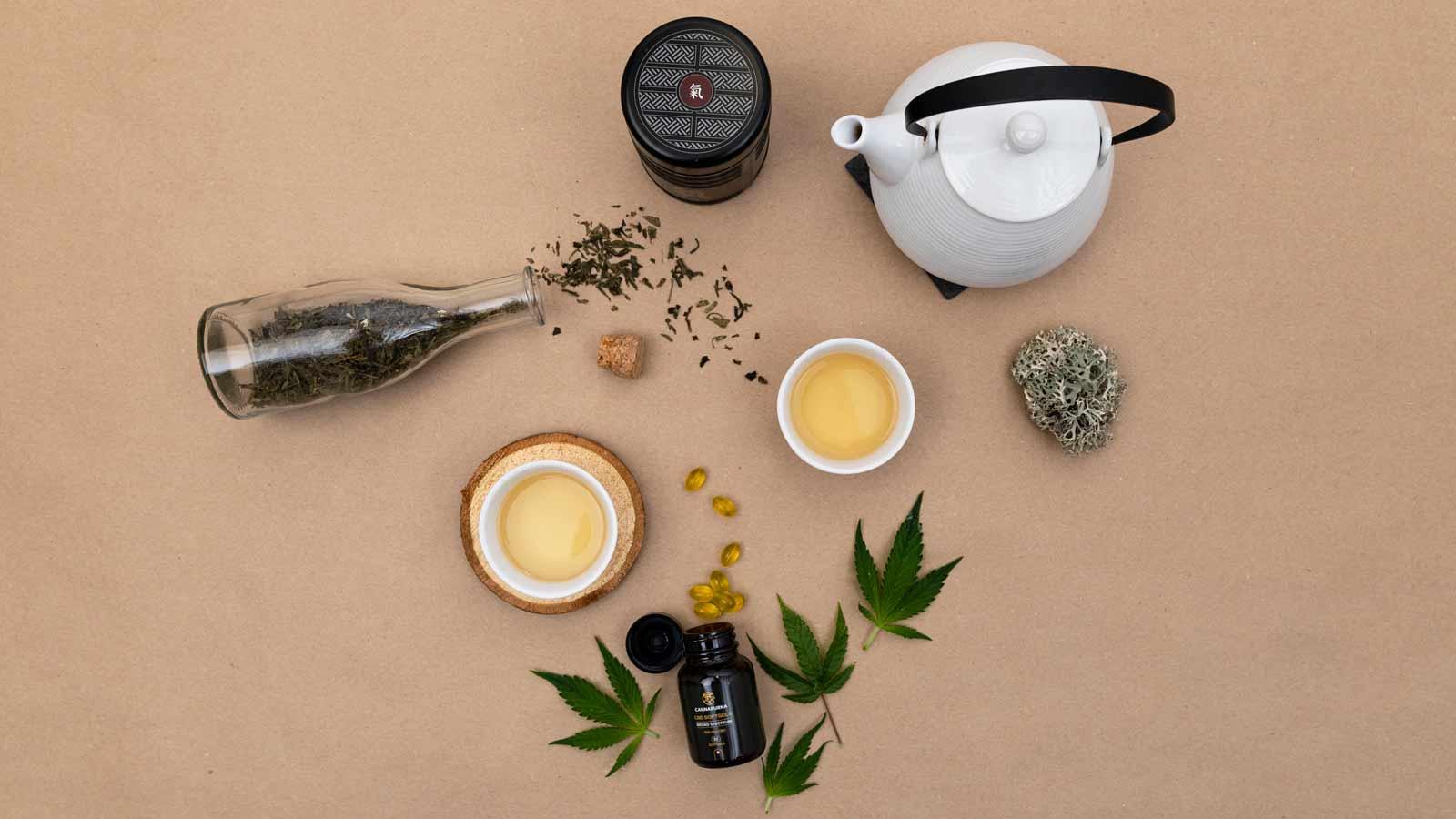 CBD produkty s konvičkou čaje vyfocené shora