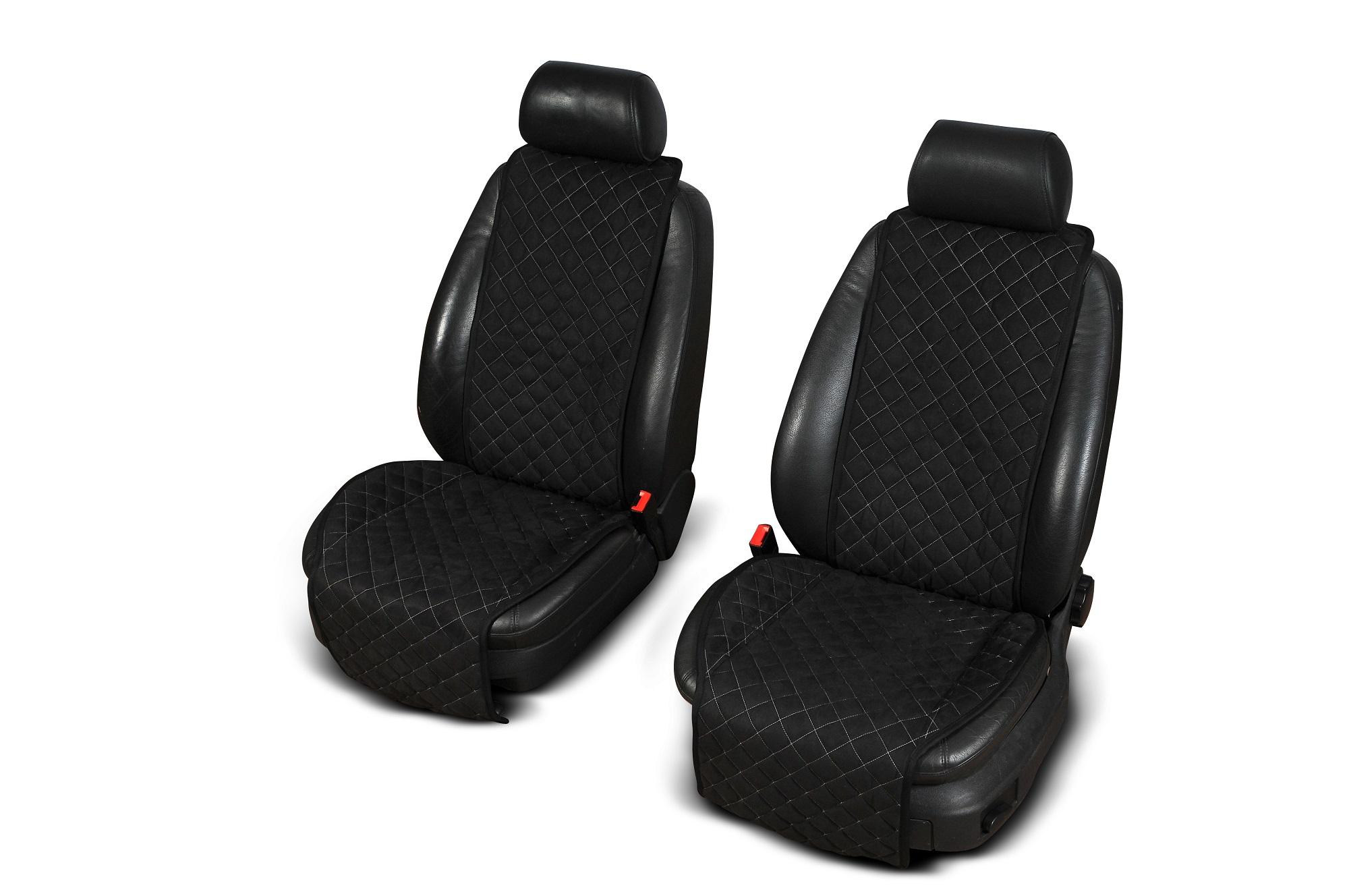 Autopotahy Cantra - ŠIROKÉ. 2x autopotahy na přední sedadla Barva: Černá s modrým prošíváním