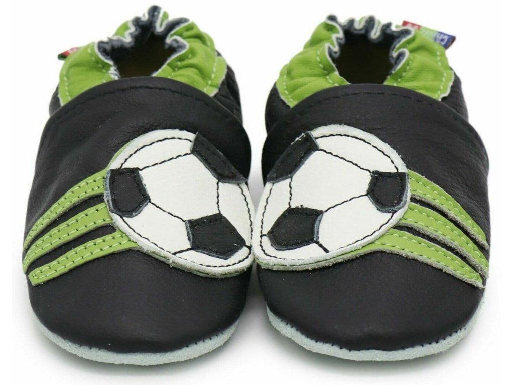 Kožené capáčky s koženou podrážkou fotbalové černé CAROZOO