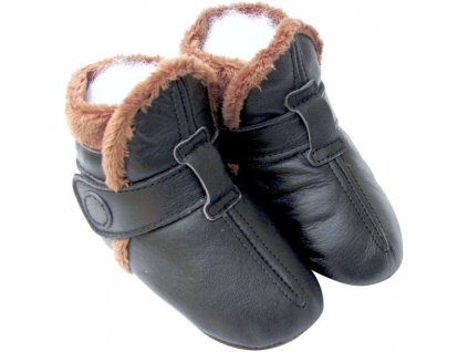 Kožené capáčky zimní černé CAROZOO