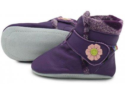 Kožené capáčky zimní fialové CAROZOO