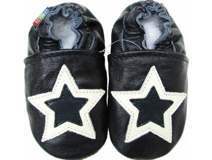 Capáčky kožené černé hvězda CAROZOO 01