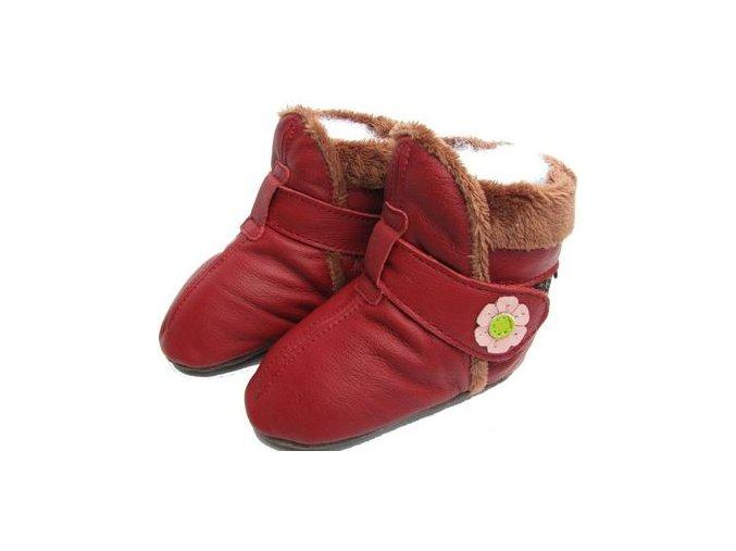 Kožené capáčky Zimní červené