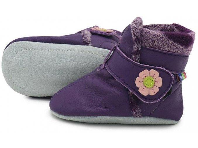 Kožené capáčky Zimní fialové