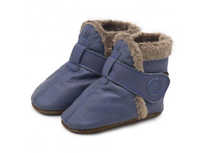 Kožené capáčky Zimní modré