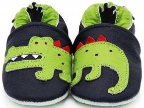 Kožené capáčky s koženou podrážkou Krokodýlek na tmavě modré