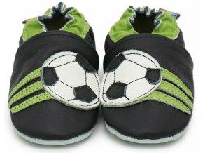 Kožené capáčky s koženou podrážkou Fotbalové černé
