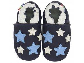 Kožené capáčky s koženou podrážkou Hvězdičky modro-bílé