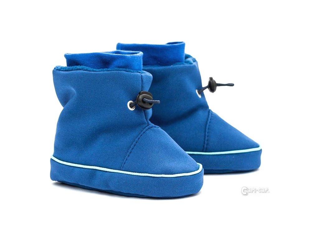 Liliputi zimní capáčky softshell Peříčka modré