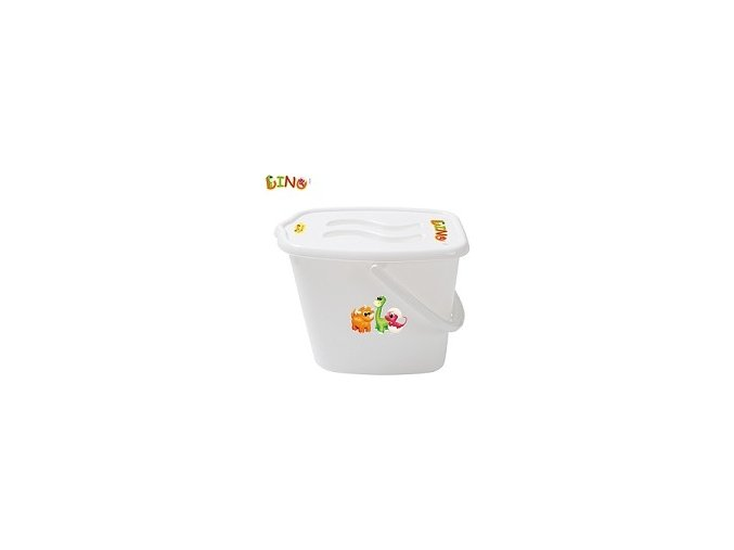 Kbelík plastový s víčkem Dino - bílé