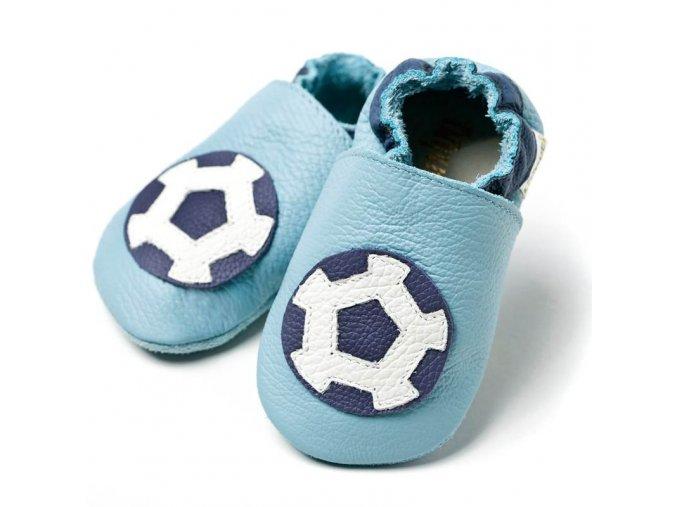 Liliputi kožené capáčky fotbalový míč modré