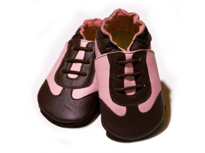 Liliputi kožené capáčky sport růžové