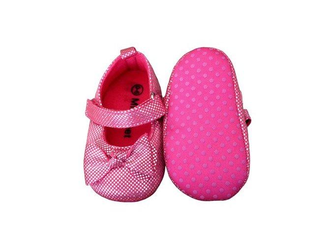 MiniFeet dětské balerínky tmavě růžové