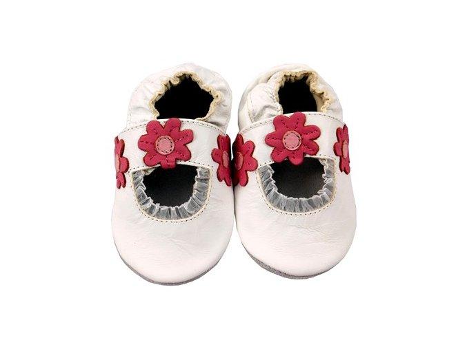 MiniFeet capáčky sandálky sedmikrásky bílé