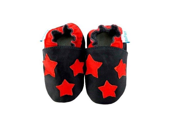 MiniFeet capáčky červené hvězdy černé