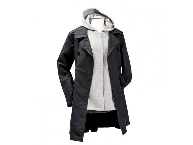 Mamalila celoroční trenčkot těhotenský kabát svyjímatelnou mikinou černošedý