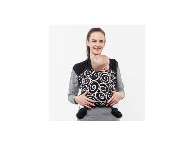 Liliputi elastický šátek s plátnovým středem Elegance černý