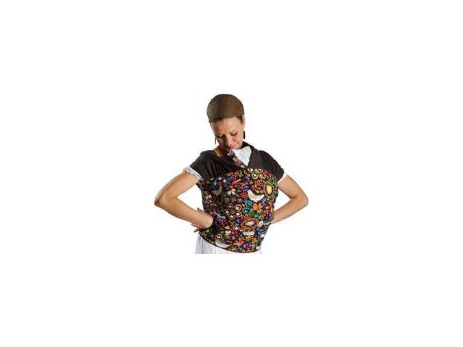 Liliputi elastický šátek s plátnovým středem Bajka hnědý