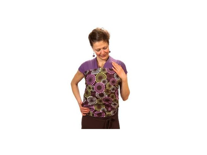 Liliputi elastický šátek s plátnovým středem Levandule fialový