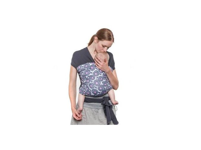 Liliputi elastický šátek s plátnovým středem Pivoňka šedý