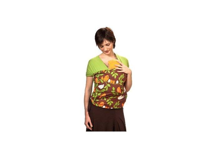 Liliputi elastický šátek s plátnovým středem Ptáčci zelený
