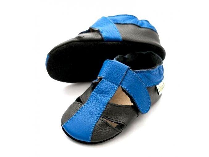 Liliputi kožené capáčky sandálky Atacama tmavě modré