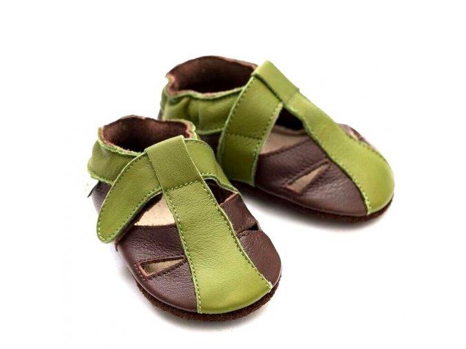 Liliputi kožené capáčky sandálky Atacama zelené