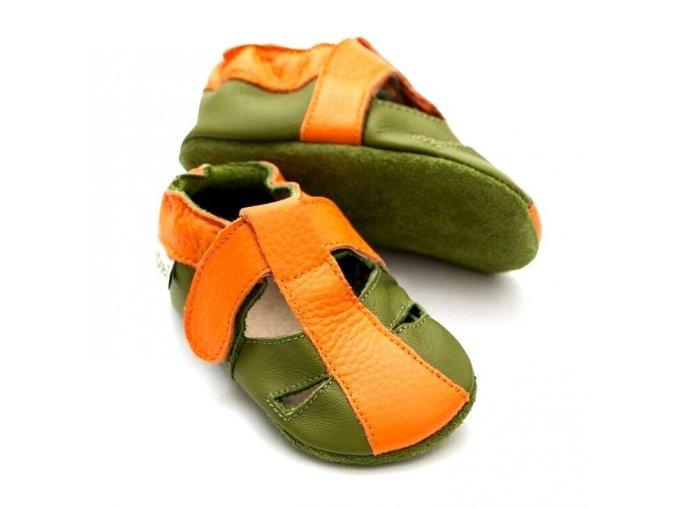 Liliputi kožené capáčky sandálky Atacama oranžové