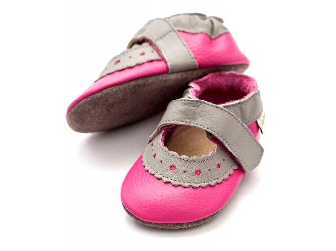 Liliputi kožené capáčky sandálky Sahara růžové