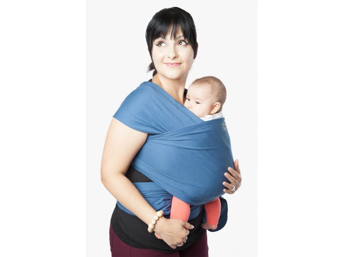 moby wrap classic marina elasticky satek moby modry noseni deti