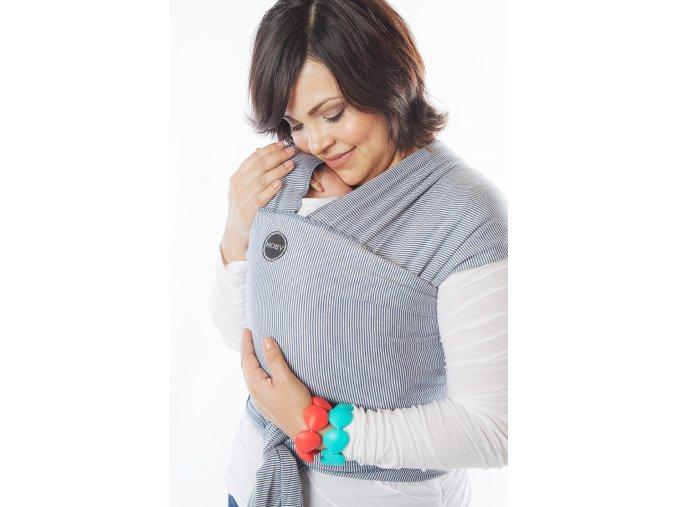 moby wrap designs denim stripes elasticky satek moby design modrý prouzek bílý noseni deti