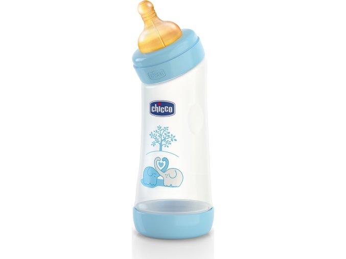 Láhev zahnutá bez BPA Well-Being kaučukový dudlík modrá 250 ml