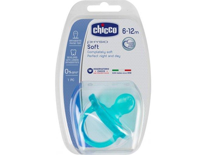 Šidítko Physio Soft celosilikónové, 6-12m+, modré