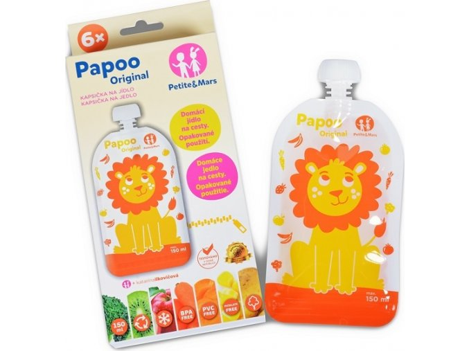 Kapsička na jídlo Papoo Original Lion 6ks