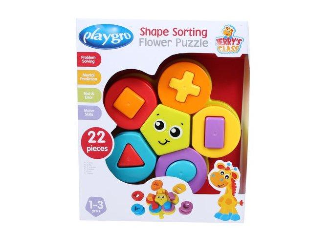Playgro - Skládací puzzle květina s tvary