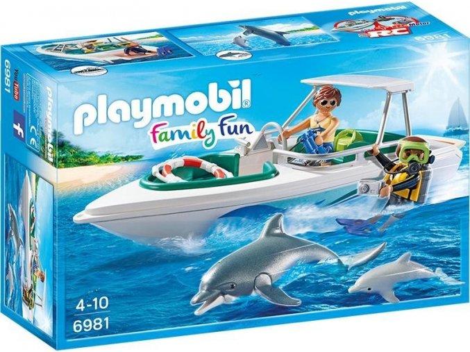 PLAYMOBIL® 6981 Sportovní člun s potápěčem a delfíny