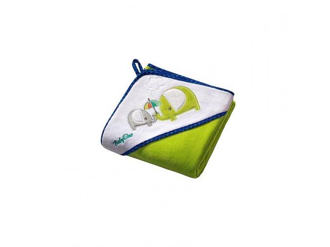 Osuška s kapucí Velour 100x100 - green