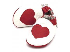 Liliputi kožené capáčky červené srdce bílé
