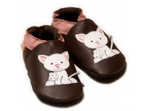 Liliputi kožené capáčky kočička hnědé
