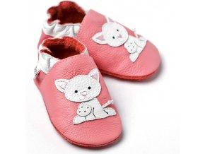 Liliputi kožené capáčky kočička růžové