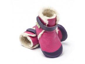 Liliputi zimní kožené capáčky Alps fialové
