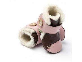 Liliputi zimní kožené capáčky Arctic růžové