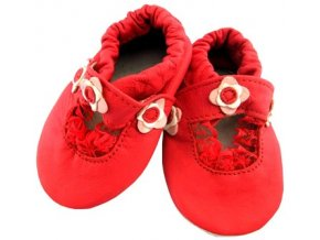 MiniFeet capáčky sandálky kytičky červené