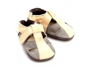 Liliputi kožené capáčky sandálky Atacama béžové