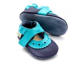 Liliputi kožené capáčky sandálky Sahara modré