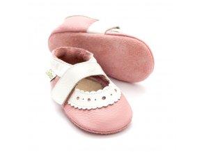 Liliputi kožené capáčky sandálky Sahara světle růžové