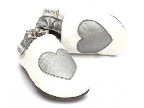 Liliputi kožené capáčky stříbrné srdce bílé